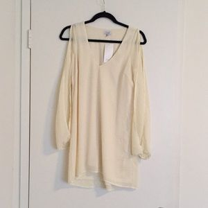 Tobi Cream Chiffon Shit Dress with open sleeves